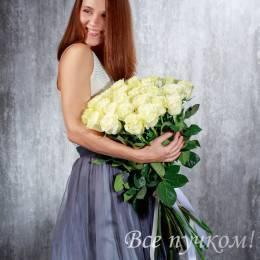 """Букет из 25 белых роз """"Премиум"""""""