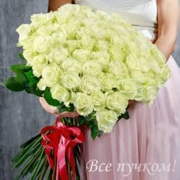 """Букет из 75 белых роз """"Премиум"""""""