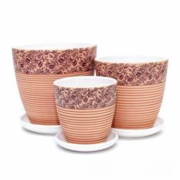 """Набор горшков """"Кофе"""" крокус коричневый (3 шт.)"""