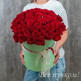 "Коробочка ""Нежный бархат"" с 51 розой"