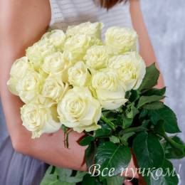 """Букет из 15 белых роз """"Премиум"""""""