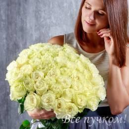 """Букет из 51 белой розы """"Премиум"""""""