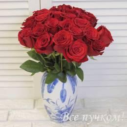 Букет#607 - Классический- 25 красных  роз 40-50 см под ленту