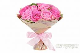 15 розовых роз 40-50 см