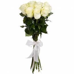 Букет#505 - 7 белых роз  60-70 см под ленту