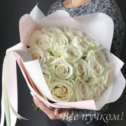 Букет#602- 17 белых роз 40-50 см в оформлении