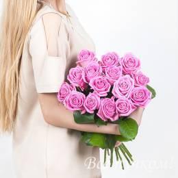 Букет#514 - 15 розовых роз 60-70 см под ленту.Оттенок в ассортименте