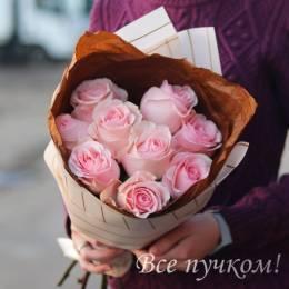 Букет#515 - 9 розовых роз. Оттенок в ассортименте