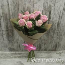 Букет#521- 9 розовых роз 60-70 см в крафт