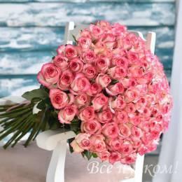 Букет#522- 101 бело-розовая роза 60-70 см