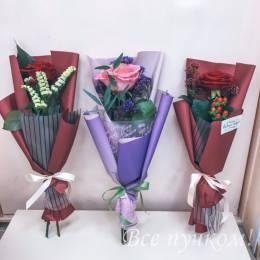 Букет#530- одна роза в оформлении в ассортименте
