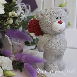 Мишка керамический с розами