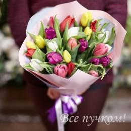 Букет#810- Желанной разноцветных 25 тюльпанов:красные и белые