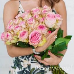 Букет#515 - 25 роз(сорт Эсперанс) под ленту
