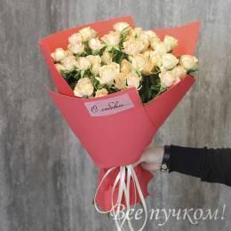 Букет#824 - 9 кустовых роз.Упаковка красная в ассортименте. Цвет вассортименте