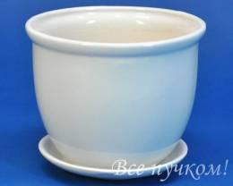 Горшок цикламен-4 бел. с под. 0, 8 л