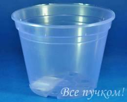 Кашпо дренажное 14/10,5 см (фио-прозр.)