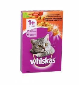 Корм для кошек Whiskas подушечки паштет кролик / говядина 350 г сухой