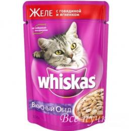 Корм для кошек Вискас  желе говядина/ягненок 85г