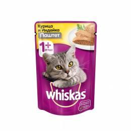 Корм для кошек Вискас паштет курица / индейка   85г