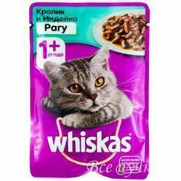Корм для кошек Вискас рагу кролик / индейка   85г