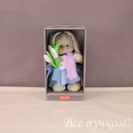 Зайка Ми с тюльпанами 32 см