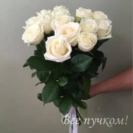 Букет#510- 15 белых роз 60-70 см под ленту